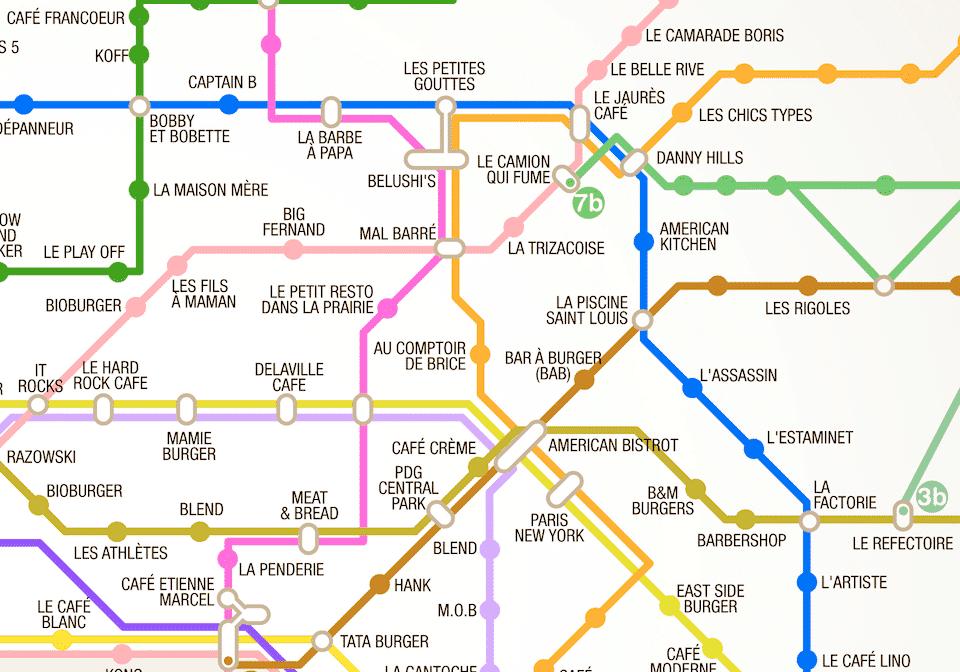 Ultra pratique : un plan de métro des burgers de Paris