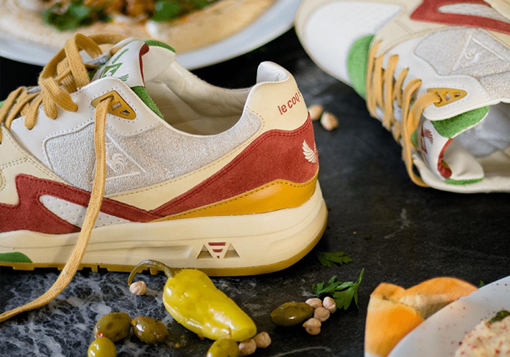 98566a203102 Le Coq Sportif lance une paire de sneakers version... Hummus !