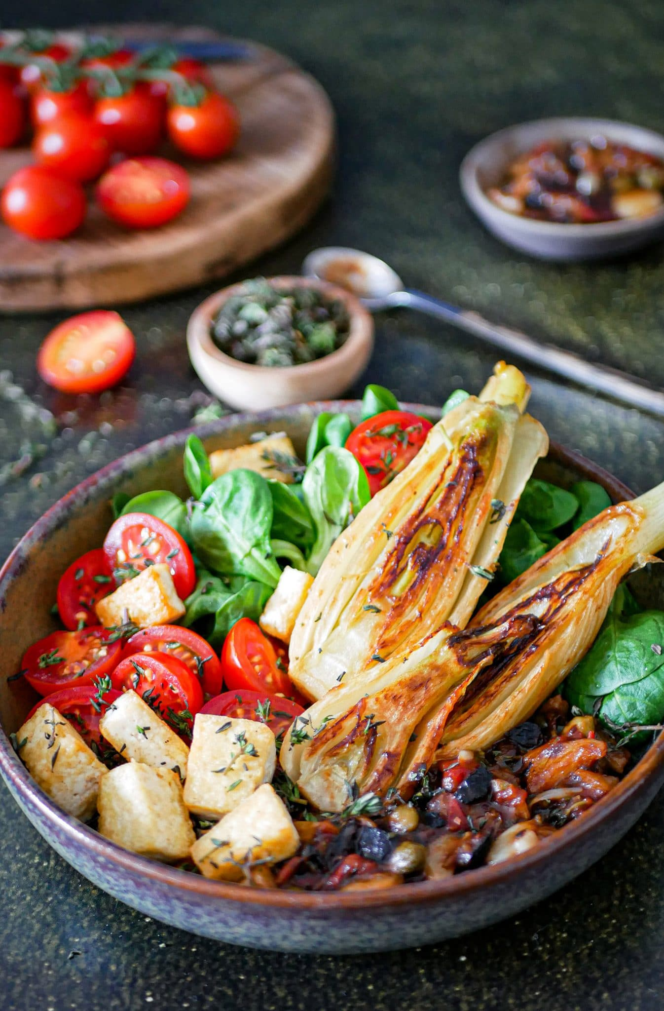 recette de fenouil braisé aux câpres et aux olives